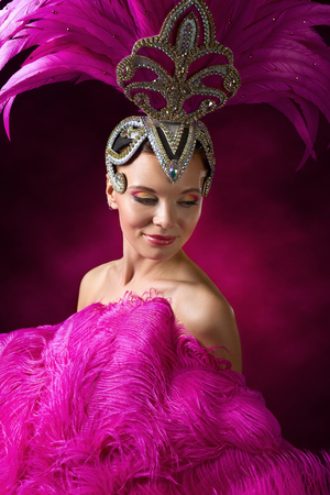 Beauty Brunette Woman with Perfect Makeup. Beautiful Professional  Make-up  , perfect headdress with natural feathers and rhinestones. Beautiful Girl in carnival costume with pink feathers. Stock Photo - 76165342