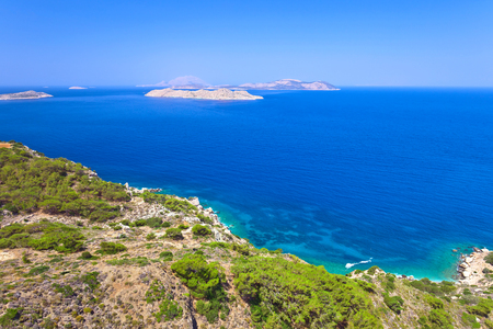 Greece,Rhodes,  coastline of Mediterranean sea . Sunny summer day . Stock Photo
