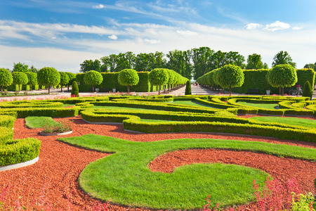 Traditional french garden. Rundale palace was built in 1740 ,  Latvia
