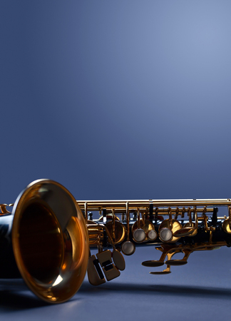 Close up of alto saxophone, copy space for your text. Фото со стока