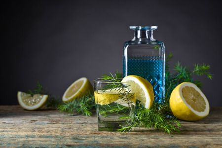 Gin with tonic, lemon slices and juniper branch.