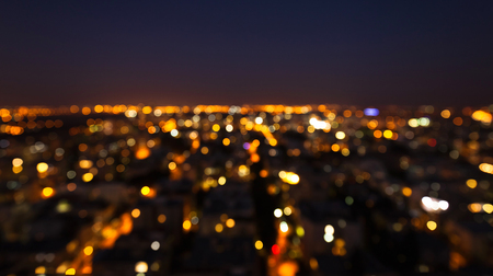 night city theme abstract blur background with bokeh effect stock