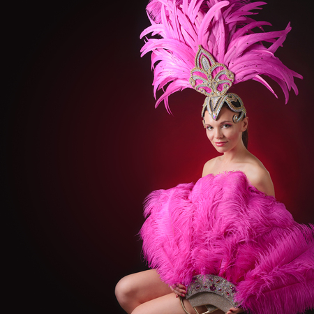 Beautiful girl in carnival costume with rhinestones and pink feathers. Beautiful professional make-up, perfect headdress. Copy space.