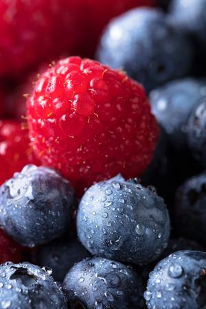 Ripe and juicy fresh picked berries closeup. Blueberries and raspberries background. 写真素材