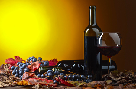 Red wine , grapes and dry vine leaves . Stock Photo