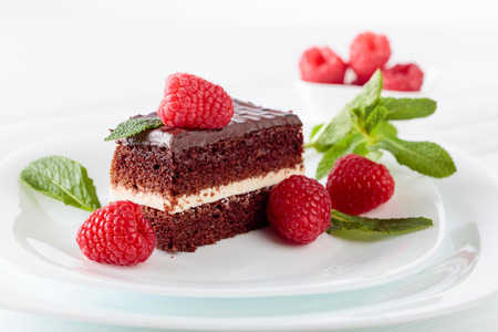 Chocolate cake with raspberry and mint on white plate.