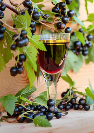 Homemade liqueur made from black currants and fresh berries on a branch , vintage wooden background.
