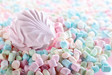 Close up of various marshmallows , selective focus . Copy space.