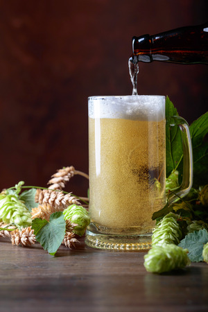 Mug of beer, grain and hops on a old wooden table. Beer is poured into a mug from the bottle. Free space for text. Stock Photo