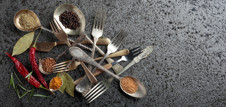 Various herbs and spices on metal table. Top view, copy space. Фото со стока