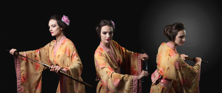 Beautiful woman in traditional Japanese  kimono with katana. Attractive girl with Japanese  sword katana. Girl pulls the sword from its sheath, merged three images. Stock Photo