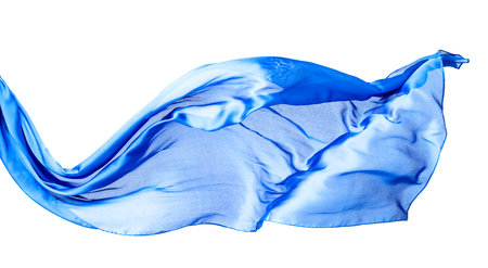 Smooth elegant blue transparent cloth isolated on white background. Texture of flying fabric.
