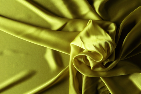 Silk satin fabric texture background, top view. Stock Photo