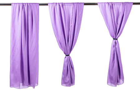 Vertical purple satin curtains isolated on white background. Reklamní fotografie