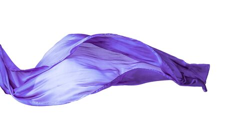 Smooth purple transparent cloth isolated on white background. Texture of flying fabric.