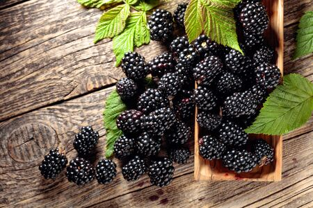 Ripe juicy blackberries with leaves on a old wooden table. Top view.