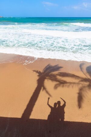 Tropical beach. Pristine tropical beach with shadows from palm trees and happy couple on the sand.