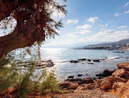The harbor of the famous resort Chersonissos, Crete, Greece.