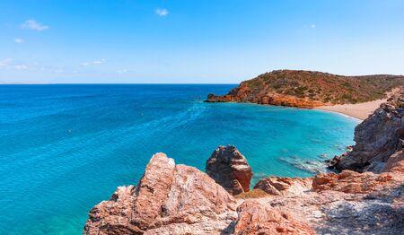 Beautiful landscape of Crete, sea and mountain. North shore of island.