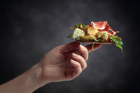 Conceptual image on the theme of delicious and healthy food . Sandwich with blue cheese, prosciutto and pear garnished with greens, capers and cornichon.  Imagens