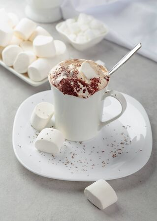 Hot chocolate with marshmallows sprinkled with chocolate crumbs.  Holiday sweets. Banco de Imagens