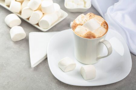 Hot chocolate with marshmallows in white mug. Banco de Imagens