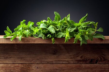 Fresh green mint on a old wooden table. Copy space. Black background.