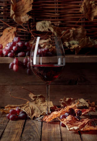 Glass of red wine with grapes. Wine, grapes and dried up vine leaves on a old wooden table.