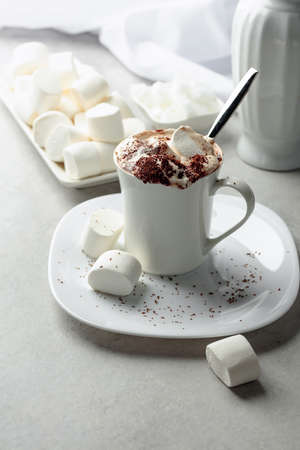 Hot chocolate with marshmallows sprinkled with chocolate crumbs. Holiday sweets.
