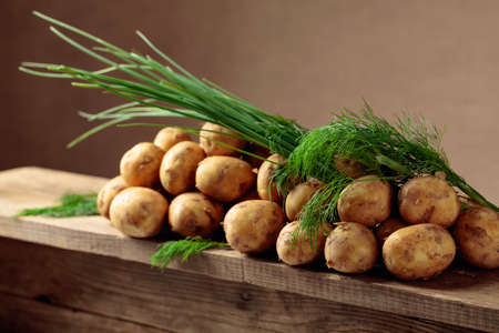 Young fresh organic potatoes with dill and onion on a old wooden table. Copy space. 免版税图像