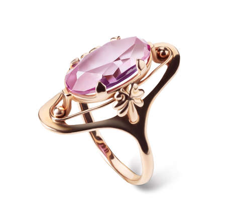 Jewelry ring with amethyst isolated on a white background.