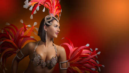 Beautiful woman in carnival costume with natural feathers and rhinestones. Free space for your text.