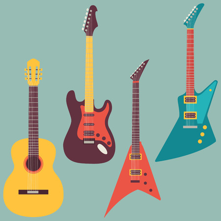 rock: acoustic and electric guitars set