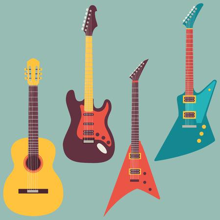 gitara: ustawić i elektryczne gitary akustyczne Ilustracja