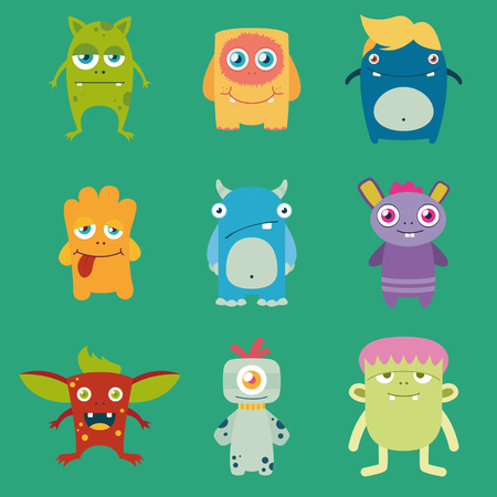 set of cute freaky monsters  イラスト・ベクター素材