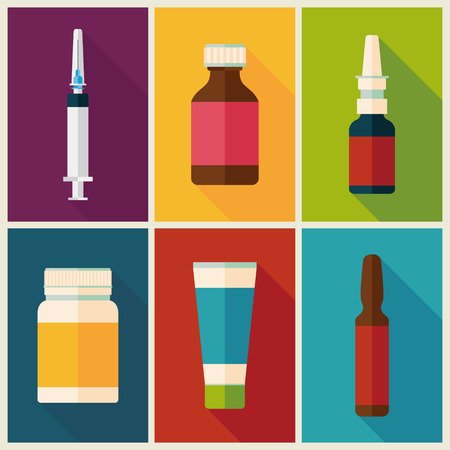 dosage: medicine and drugs icons set with long shadows.