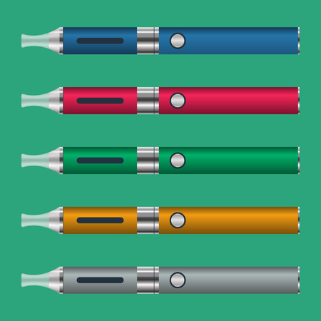 e cig: electronic cigarettes in five different colors