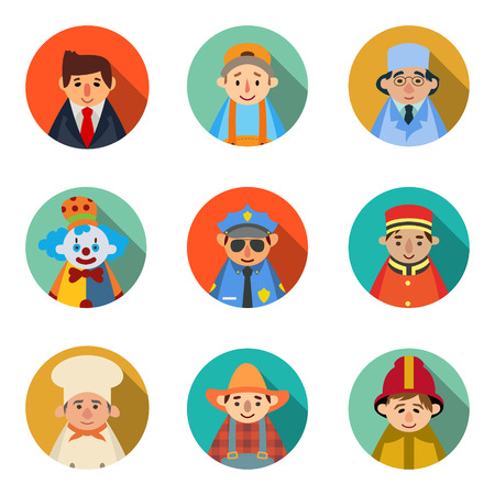 set of 9 people icons in flat style profession character.