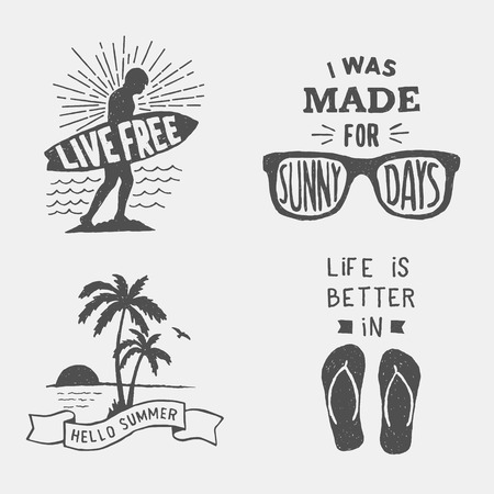 beach slippers: set of summer hand drawn typography posters, emblems and quotes. artworks for wear. vector inspirational illustration