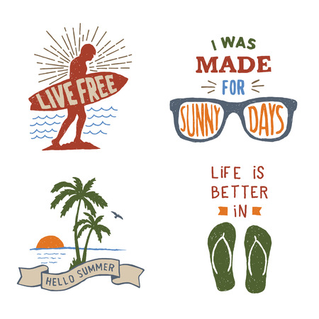 set of summer hand drawn typography posters, emblems and quotes. artworks for wear. vector inspirational illustration