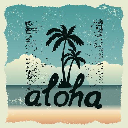 hand drawn typography poster with palm trees. aloha. artwork for wear. vector inspirational illustration on beach background