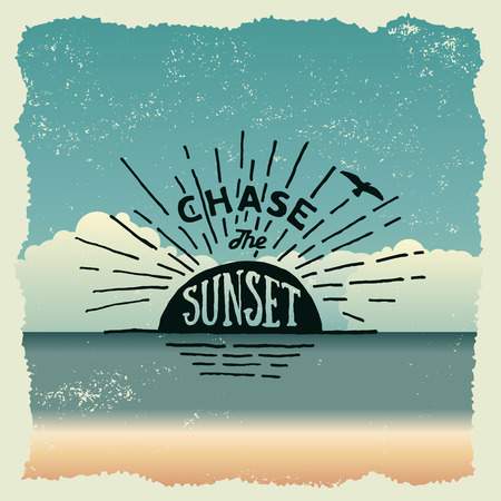 hand drawn typography poster with sun and flying bird. chase the sunset. artwork for wear. vector inspirational illustration on beach background Vettoriali
