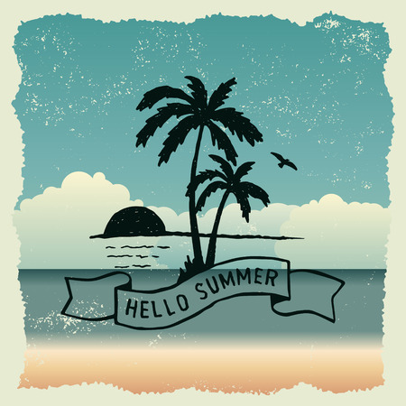 hand drawn typography poster with sunset, palm trees and flying bird. hello summer. artwork for wear. vector inspirational illustration on beach background
