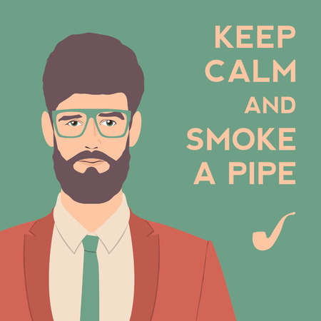 keep calm and smoke a pipe poster. flat hipster character. stylish young guy with glasses background. vector illustration