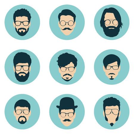 visage profil: ensemble de hippie avatars pour les médias sociaux ou site web. icônes homme de visage. illustration vectorielle Illustration