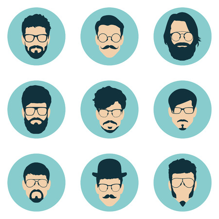 set of hipster avatars for social media or web site. man face icons. vector illustration Ilustração