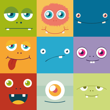 cartoon monster gezichten vector set. schattig vierkante avatars en pictogrammen