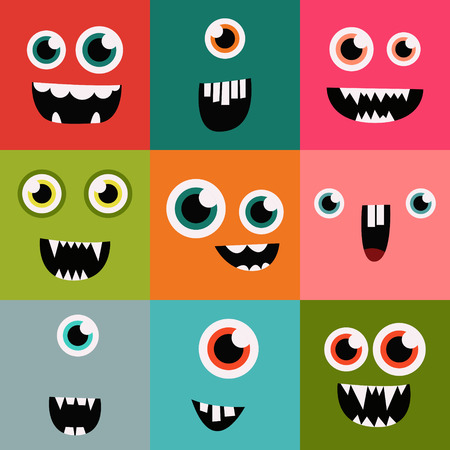 monster teeth: cartoon monster faces vector set. cute square avatars and icons