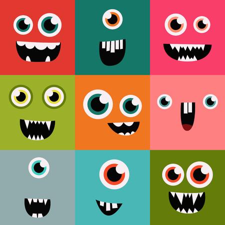 divertido: monstruo de dibujos animados se enfrenta conjunto de vectores. avatares e iconos cuadrados lindos