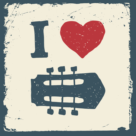 headstock: music hand drawn typography poster with heart and guitar headstock. i love music. artwork for wear. vector illustration on grunge background
